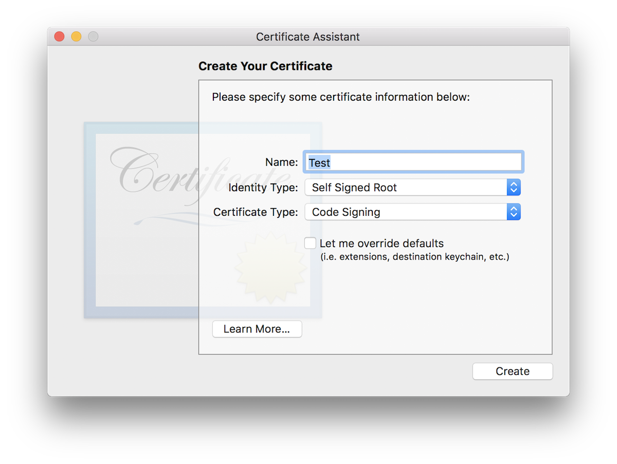 Create your certificate